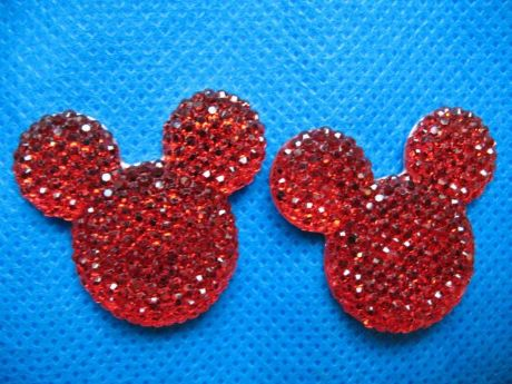 5 x 35mm RED GLITTER FLAT BACK RESIN MINNIE MICKEY MOUSE HEAD HEADBANDS HAIR BOWS CARD MAKING